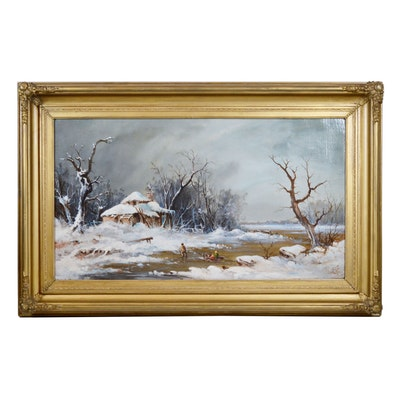 Landscape Oil Painting of Winter Sled Scene
