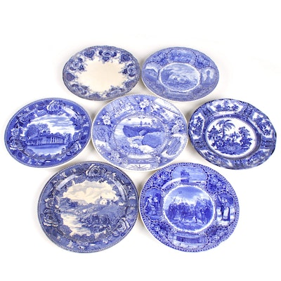 English Blue Transfer Printed Earthenware Plates Featuring Wedgwood