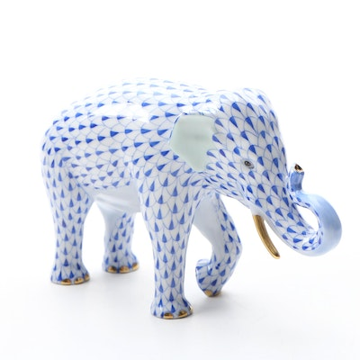 "Herend Endangered Species Blue Fishnet ""Asian Elephant"" Porcelain Figurine"
