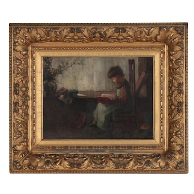 Genre Scene Oil Painting of a Child, Early 20th Century