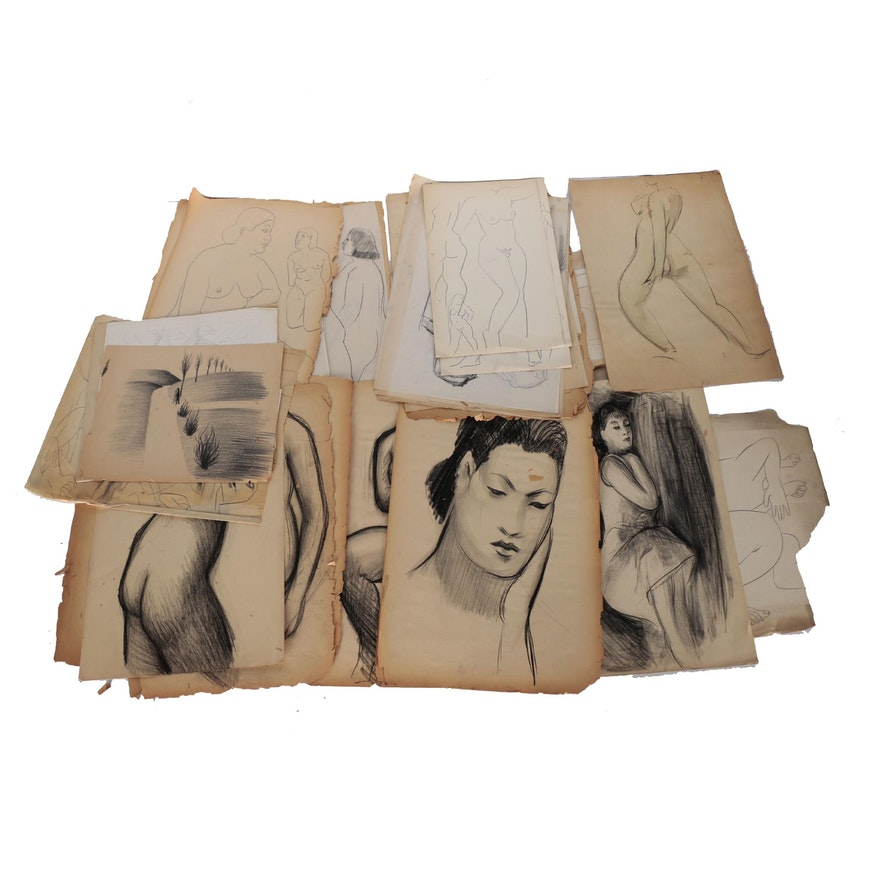 Thomas Brownell Eldred Charcoal and Graphite Portfolio of Figural Studies