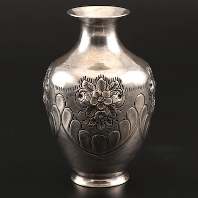 American Repoussé Sterling Silver Vase, Mid-Century
