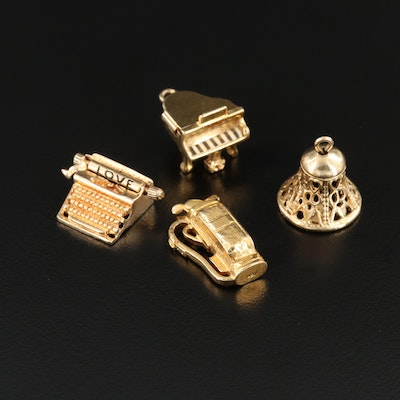 Vintage 14K Yellow Gold Articulated Charms Including Typewriter, Piano and Bell