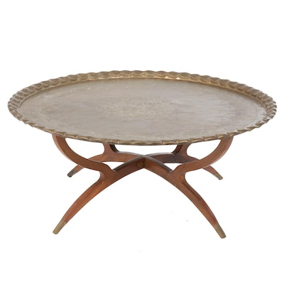 1960s Moroccan Style Brass Tray Coffee Table with Folding Wood Base