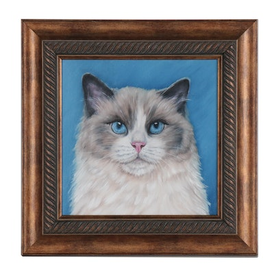 Joseph Veillette Oil Painting of Cat