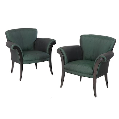 Art Deco Style Green Silk Upholstered Armchairs