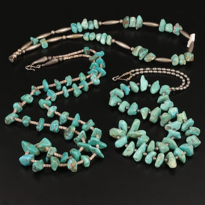 Sterling Silver and Silver Tone Turquoise Beaded Necklaces