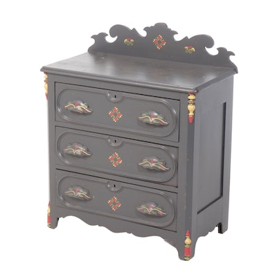 Victorian Paint-Decorated Chest of Drawers, Mid-19th Century
