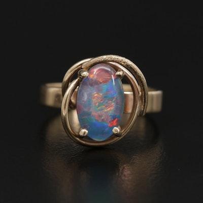 9K Yellow Gold Opal Triplet Ring