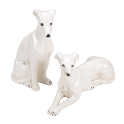 Pacific Japanese Porcelain Greyhound Figurines, Mid-20th Century