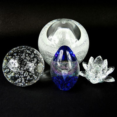 Eickholt Egg Paperweight with Other Glass Paperweights