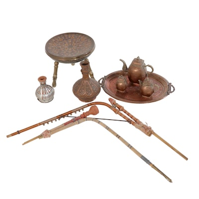 Indian Copper and Brass Tea and Tobacco Items, 1970s