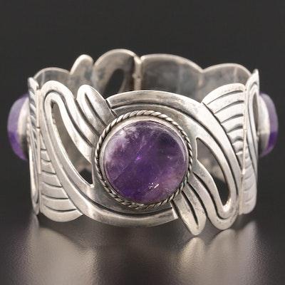 Taxco Sterling Silver Amethyst Hinged Bracelet