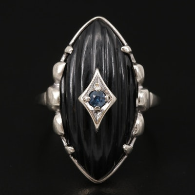 Vintage 10K White Gold Black Onyx and Sapphire Ring