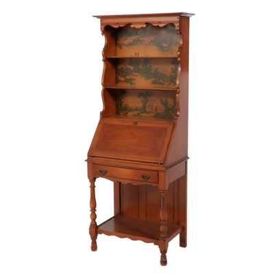 American Colonial Style Maple Secretary Bookcase, Mid to Late 20th Century