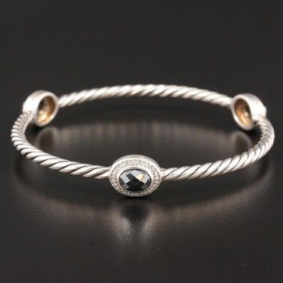 David Yurman Sterling Silver Hematite and Diamond Bangle Bracelet