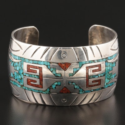 Southwestern Style Sterling Silver Turquoise and Coral Inlay Bracelet