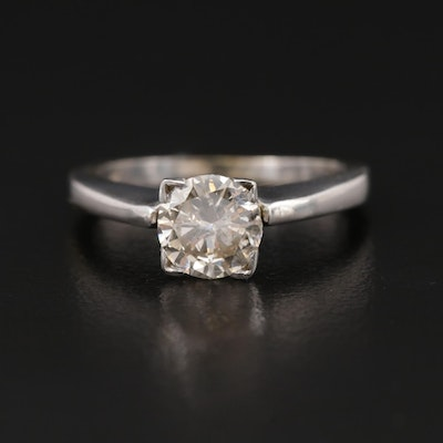 14K White Gold 0.86 CT Diamond Solitaire Ring