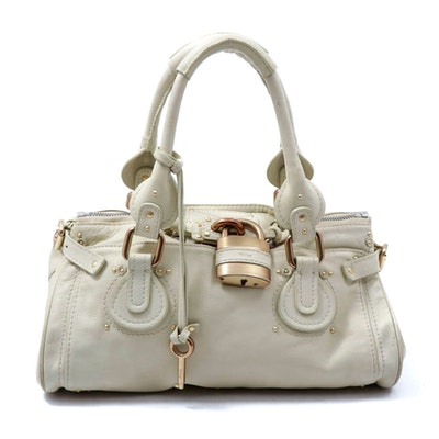 Chloé Paddington Satchel in Beige Leather with Lock and Key