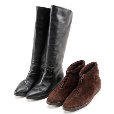 Bottega Veneta Brown Suede with Bandolino Monica Black Leather Boots