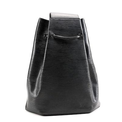 Louis Vuitton Sac a Dos Drawstring Bag in Black Epi Leather