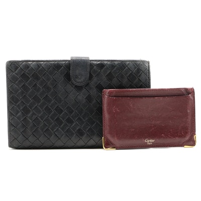 Bottega Veneta Intrecciato Wallet and Cartier Card Holder in Leather