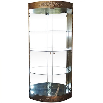 Illuminated Mirrored Curio Cabinet, Contemporary