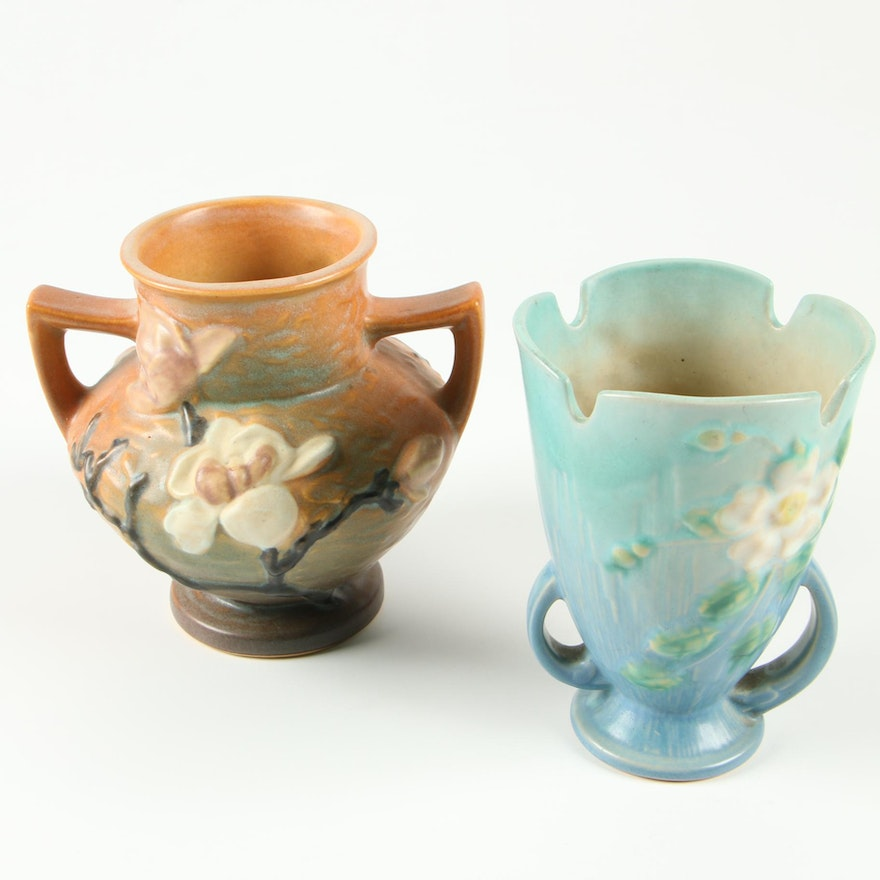 """Roseville Pottery """"Magnolia"""" and """"White Rose"""" Earthenware Vases, Mid-Century"""