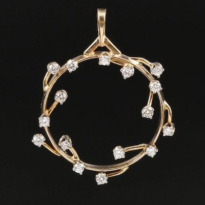 Vintage 14K Yellow Gold Diamond Wreath Pendant