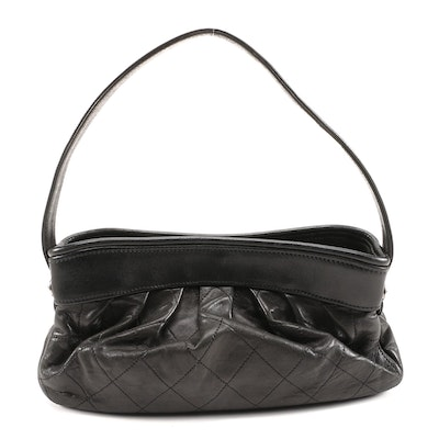Chanel Hobo Bag in Black Stitched Pleated Lambskin Leather