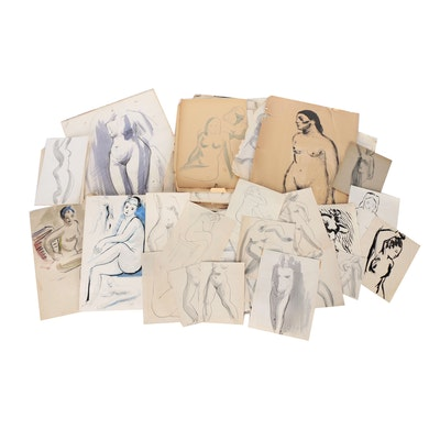 Thomas Brownell Eldred Drawing Portfolio of Figural Studies