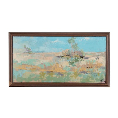Robert McNesky Abstract Landscape Oil Painting, Mid to Late 20th Century