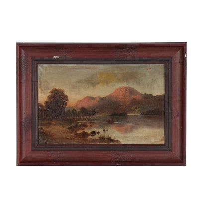 """James Pitt Oil Painting """"Loch Lommond"""", 1881"""