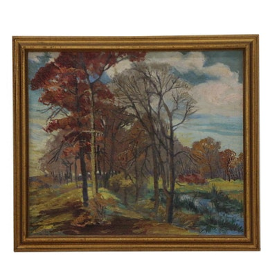 Georgia Leigh Caldwell Landscape Oil Painting, Early 20th Century