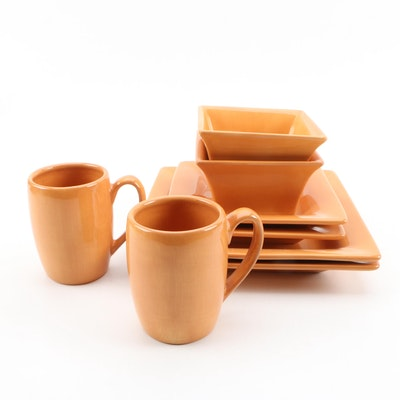 "Tabletops Unlimited Pumpkin ""España"" Ceramic Dinnerware for Two"