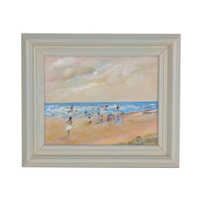 Donald Fraser Beach Scene Oil Painting