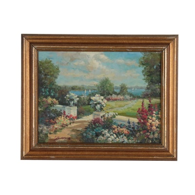 Garden Landscape Oil Painting, Mid 20th Century