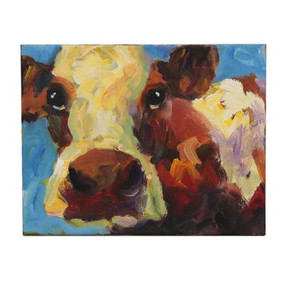 Elle Raines Acrylic Painting of Cow