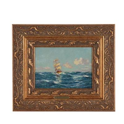 "R. Dumont-Duparc Oil Painting ""Sailing Vessel in Mediterranée by Mistral Wind"""