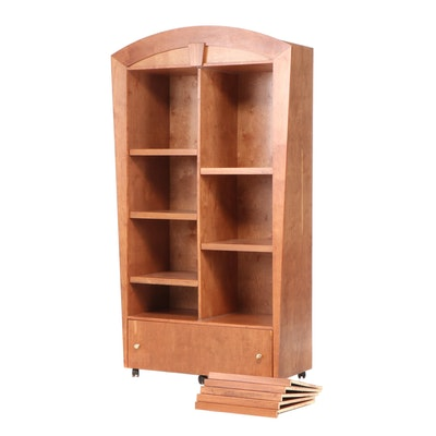 Contemporary Birch Display Cabinet on Casters