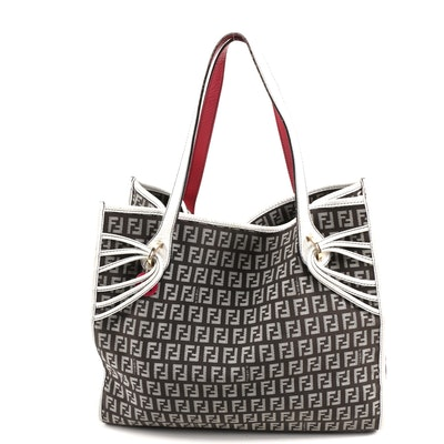 Fendi Tote in Black and Gray Zucchino Canvas with Two-Tone Leather