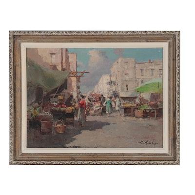 Mario Maresca Italian Market Scene Oil Painting, Mid 20th Century