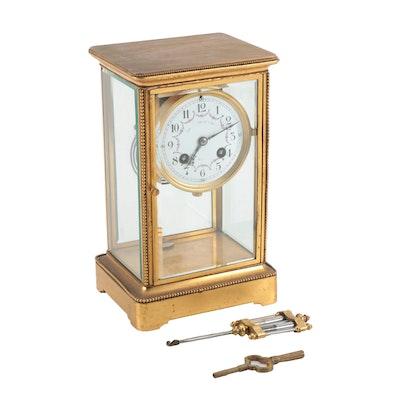 S. Marti et Cie Four Glass Mantel Clock with Mercury Pendulum, Late 19th Century
