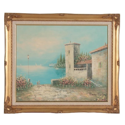 Oil Painting of Mediterranean Coastal Scene