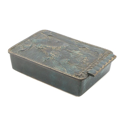 Pal-Bell Co. Patinated Bronze Relief Hinged Box, Mid 20th Century