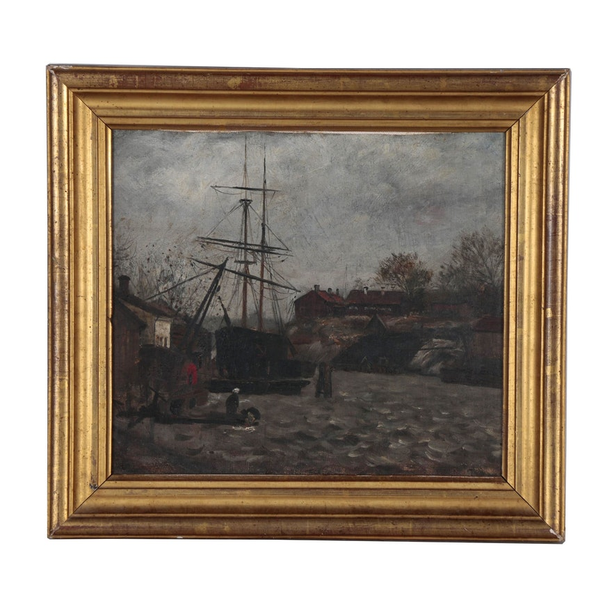 Harbor Oil Painting, Early-Mid 20th Century