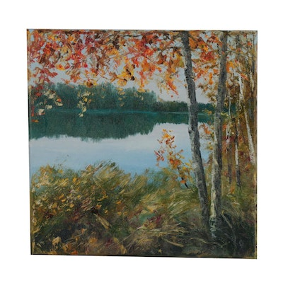 "Garncarek Aleksander Oil Painting ""At the Lake"""