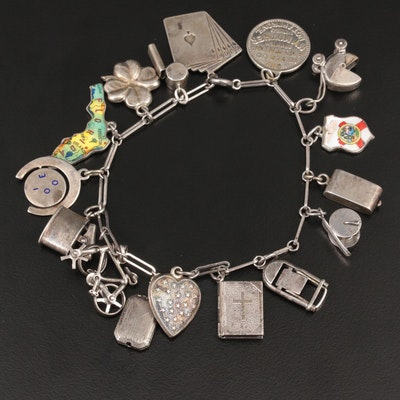 Vintage Sterling Silver Enamel Charm Bracelet with Articulating Charms