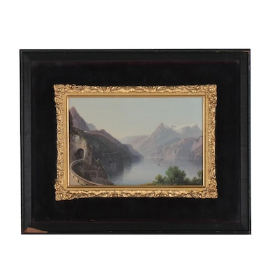 Oil Painting of Mountainside Landscape