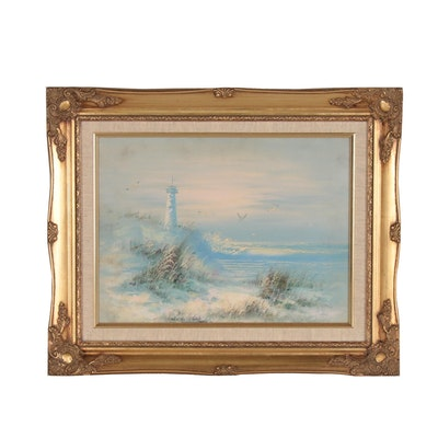 Oil Painting of Beach Scene with Lighthouse